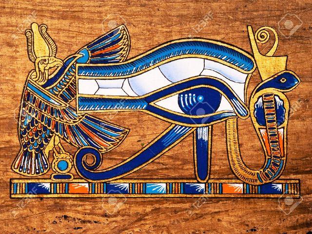 13203533-Papiro-egipcio-que-representa-el-ojo-de-Horus-Foto-de-archivo