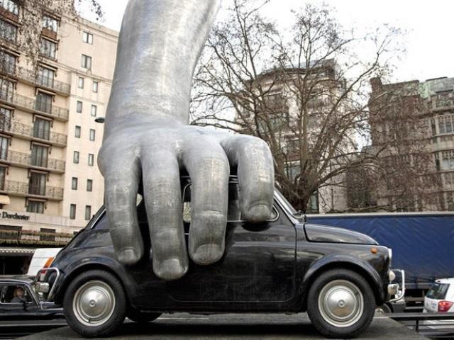Mandatory Credit: Photo by Jeff Blackler / Rex Features (1277669a) Vroom Vroom sculpture by Lorenzo Quinn Vroom Vroom sculpture by Lorenzo Quinn, Park Lane, London, Britain - 28 Jan 2011