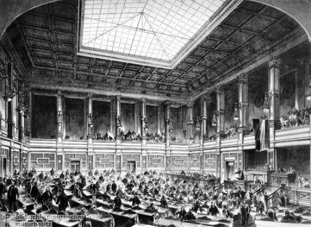 """Sitzung des Reichtages im ehemaligen Gebaeude der Koeniglichen Porzellanmanufaktur in der Leipziger Strasse 4, das bis zum Jahre 1894 als """"Provisorium""""diente Holzstich, 1872."""