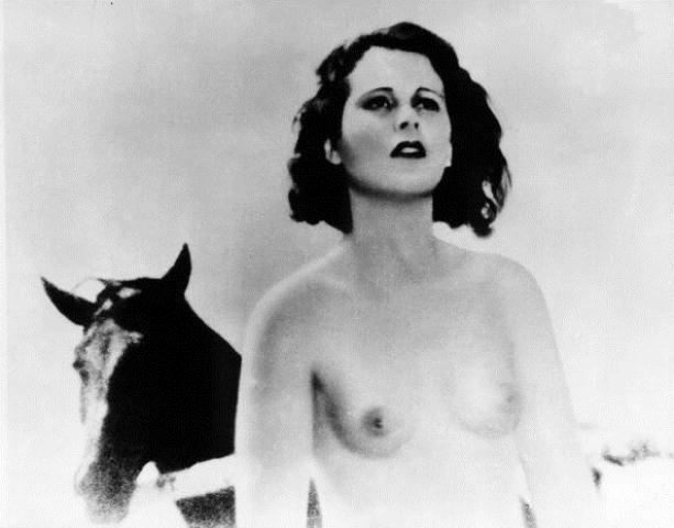 1932:  Austrian-born actor Hedy Lamarr (1913-2000), then known as Hedwig Kiesler, stands in front of a horse in the nude scene from Czech director Gustav Machaty's film, 'Extase (Ecstasy)'.  (Photo by Hulton Archive/Getty Images)