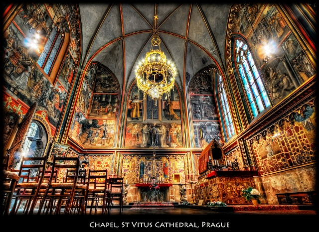 "I have a fascination withchurch interiors, and Prague is most surely one of the best places to indulge that fascination. I spent many hours inside the numerous churches with my camera mounted on my little Gorilla tripod. It is barely a few inches off the floor, so there is no chance to look through the view finder without laying on the floor. That probably would not go well with the guards. But I have perfected my technique. I will set up the camera on the tripod at 10mm, auto-bracket +/- 2 and caefully set up the legs of the tripod before going in the church. I also attach the cable release. Once in the church I will adjust the aperture so that the longest shot does not go over 30 seconds so I don't have to shoot bulb mode and look at my watch. I sneakealy place the camera on the floor, like a little chihuahua, and press the release button 3 times.  If the church is very crowded, I will push the camera in front of the rope that prevents people from moving closer. I feel it's OK to do this as the little tripod does not really disturb the flow of people, or trips people. Unfortunately, I eventually get caught, I would say yelled at. Fortunately, I don't understand everything I am being told except for the ""no static photo"" part. But, I can't resist, I'll show up at opening time, or a little before closing time if I can, and do it all over gain. The challenge ahead of me is to figure out the best way to process these shots. I do have a lot. This time I turned temperature to -10 in Photomatix, and sturation very low to conserve the colors but not fall pray to the oversaturation tendency of Photomatix. Once in Photoshop I neutralized the yellow cast further using Nik Color Efex. Then several steps to increase contrast, and then finally desaturated again. I like this one better than my prior yellow/brown shots. This shot was a 10mm, f7.1, 4 secs. The longest exposure was 15 secs."