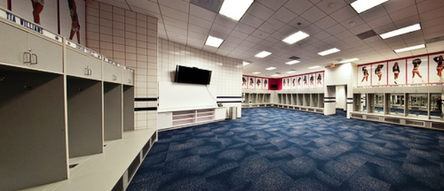 Here is a panormaic view of the Dallas Cowboys Cheerleader's Locker Room. Each space has its own mirror and the girls have their photo above each locker.