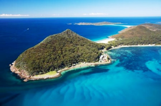 Tomaree Head and Shoal Bay, Port Stephens, New South Wales, Australia -  aerial