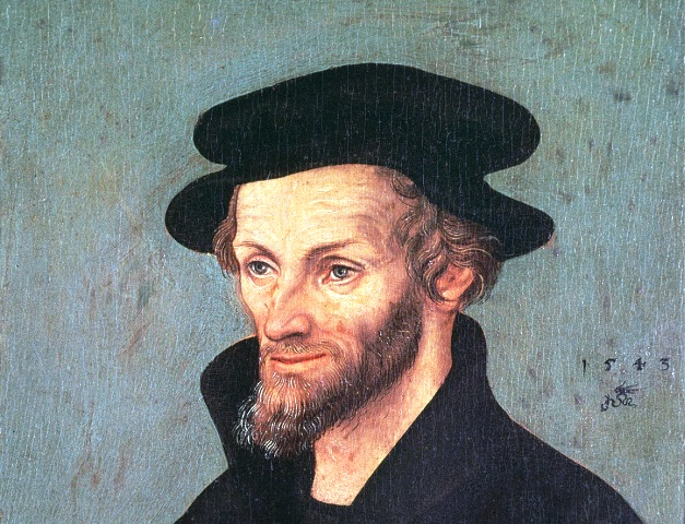 XIR228519 Portrait of Philipp Melanchthon (1497-1560) 1543 (oil on panel) by Cranach, Lucas, the Elder (1472-1553); 21x16 cm; Galleria degli Uffizi, Florence, Italy; German,  out of copyright