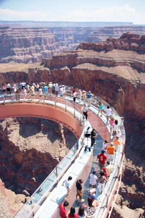 Skywalk with people