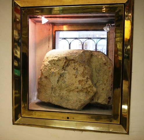 Pic by Graham Hussey pic shows the lLONDON STONE which is in canon street london .pic taken inside the  tech srorts shop