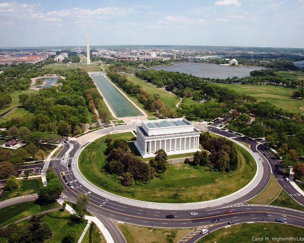 Aerial of Mall showing Lincoln Memorial, Washington Monument and the U.S. Capitol, Washington, D.C.